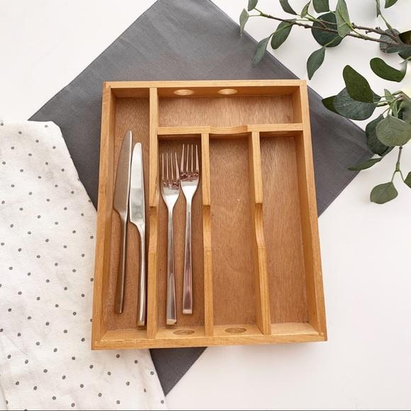 Wooden silverware drawer organizer